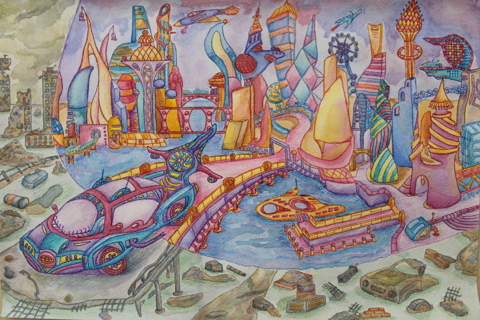 Нарисовать город моей мечты картинки